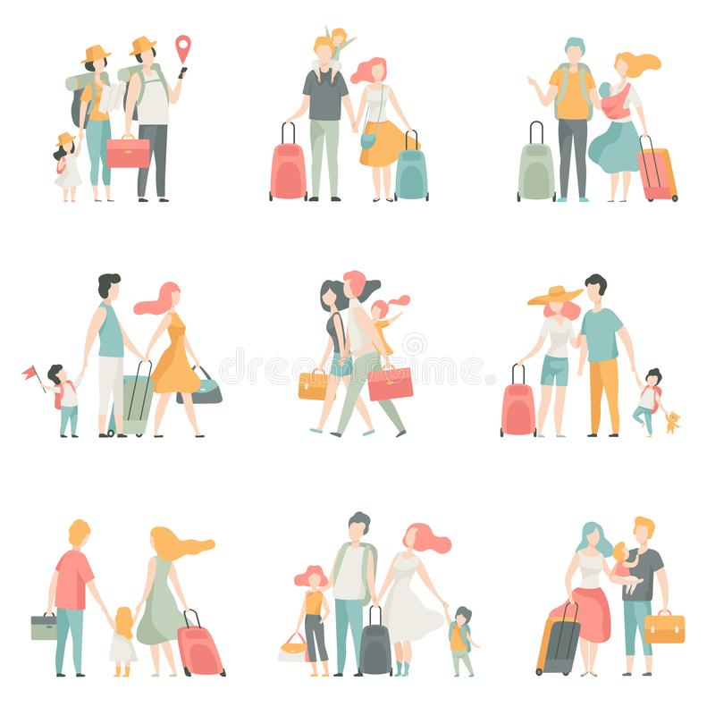 Caractères d'ensemble, de père, de mère et d'enfants de voyage de famille voyageant ensemble illustration de vecteur illustration stock