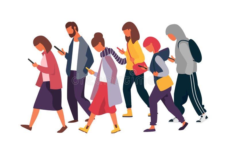 Caractères d'homme et de femme avec des téléphones portables Foule des personnes tenant des smartphones Illustration de vecteur illustration stock