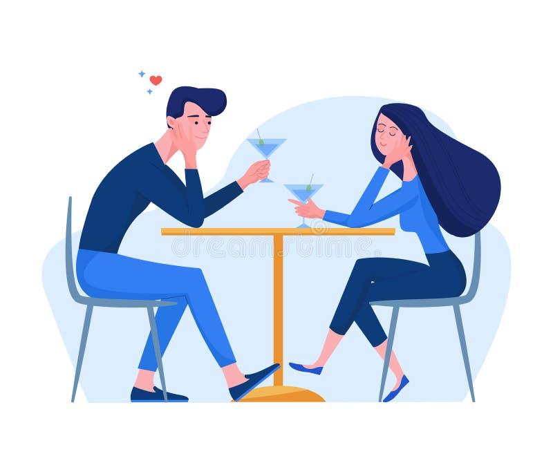Caractères d'homme et de femme dans le style plat se reposant dans le cocktail de boissons de café Couplez dans l'amour tenant le illustration stock