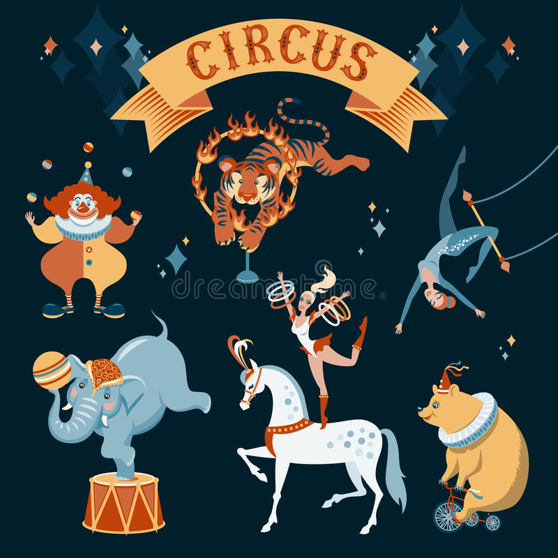 Caractères de cirque illustration de vecteur
