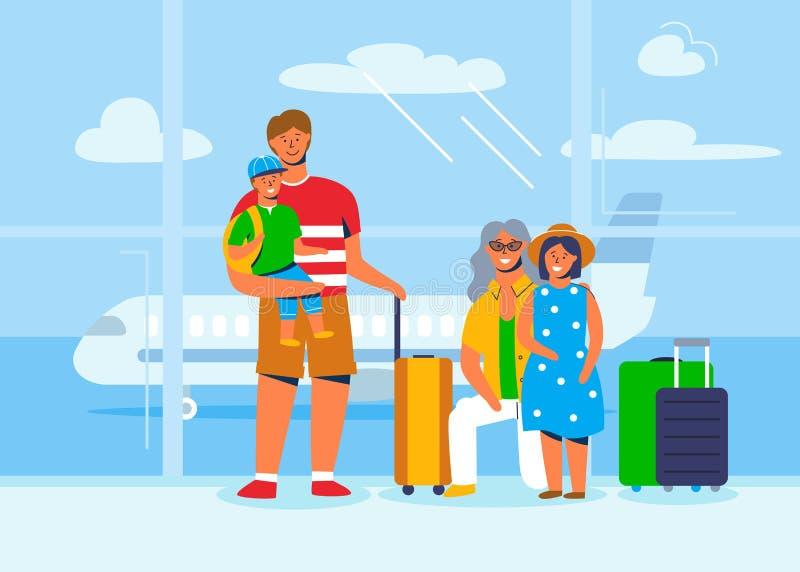Caractères de famille sur des vacances ou le voyage à l'aéroport attendant pour embarquer sur l'avion Personnes de touristes avec illustration stock