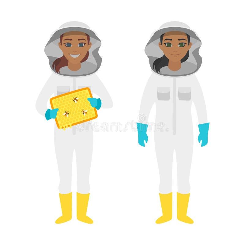 Caractères de femme d'apiculteur illustration de vecteur