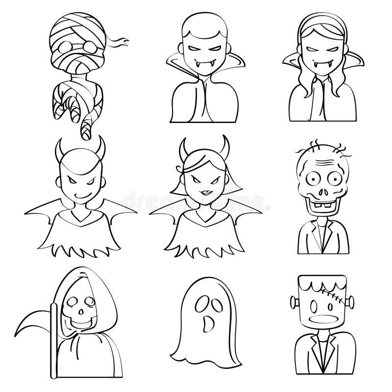 Caractères de Halloween illustration de vecteur