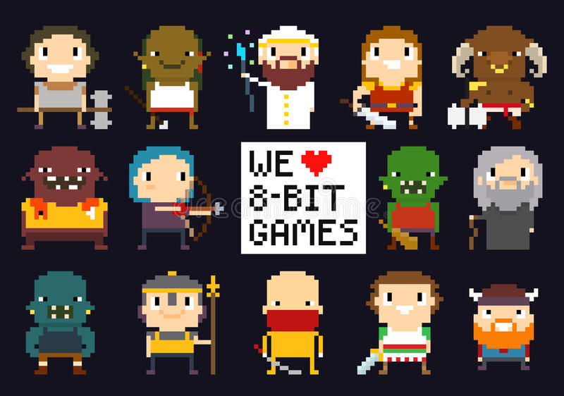 Caractères de jeu de pixel illustration stock