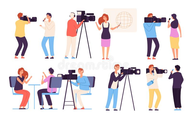 Caractères de journaliste Studio de radiodiffusion de l'émission TV de cameraman d'équipe de cameramen de directeur de journalist illustration libre de droits