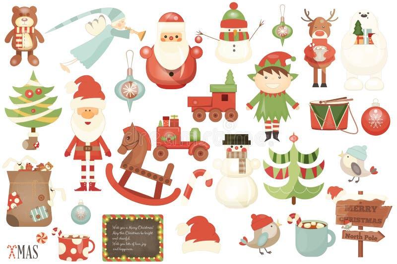 Caractères de Joyeux Noël et éléments de Noël illustration stock