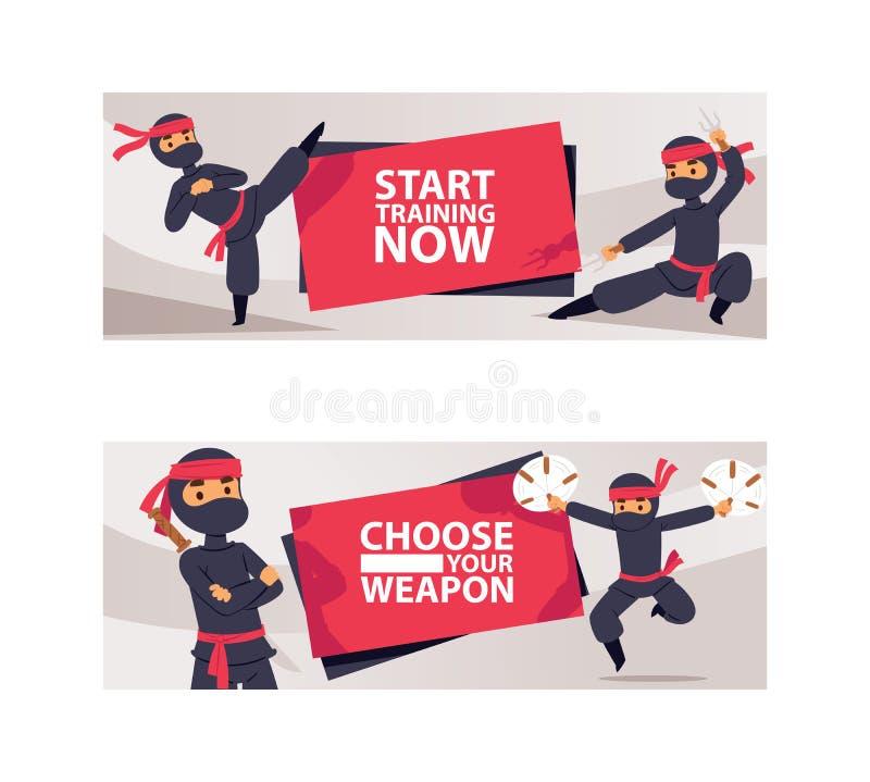 Caractères de Ninja montrant l'illustration différente de vecteur d'actions Ninja sérieux de bande dessinée avec des bannières d' illustration stock
