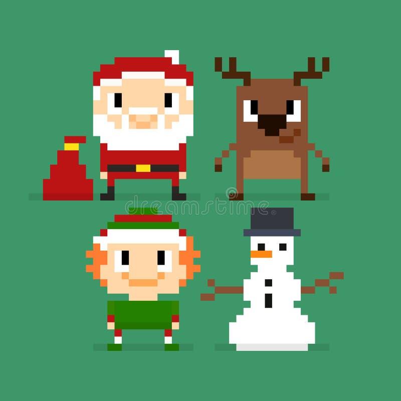 Caractères de Noël de pixel illustration de vecteur