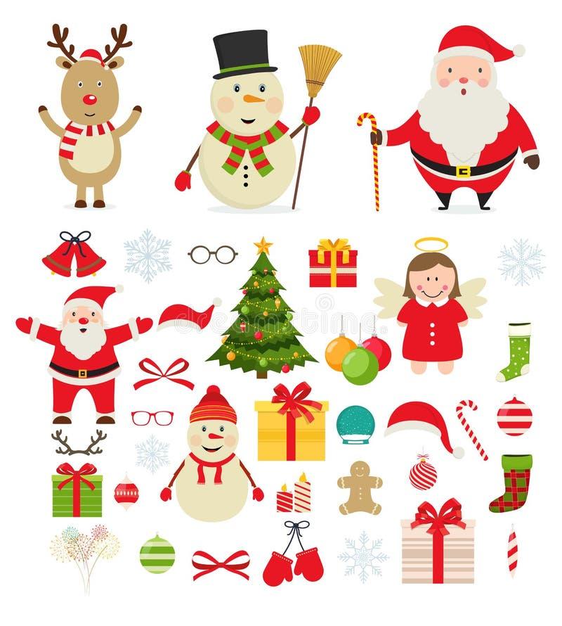 Caractères de Noël et décorations de fête de nouvelle année illustration libre de droits