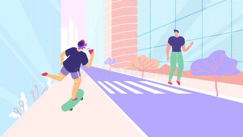 Caractères de personnes de bande dessinée marchant sur la rue de ville illustration libre de droits