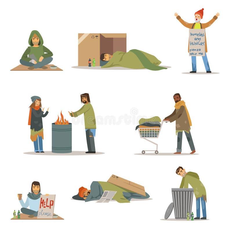 Caractères de personnes sans abri réglés Hommes du chômage ayant besoin des illustrations de vecteur d'aide illustration stock