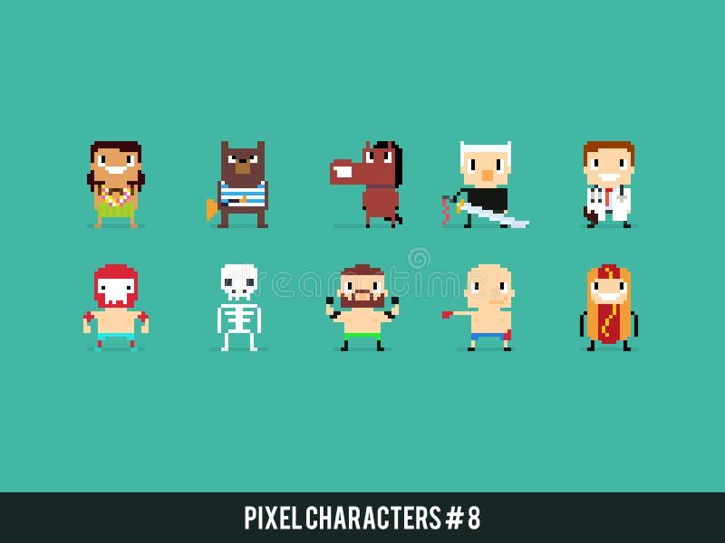 Caractères de pixel illustration stock