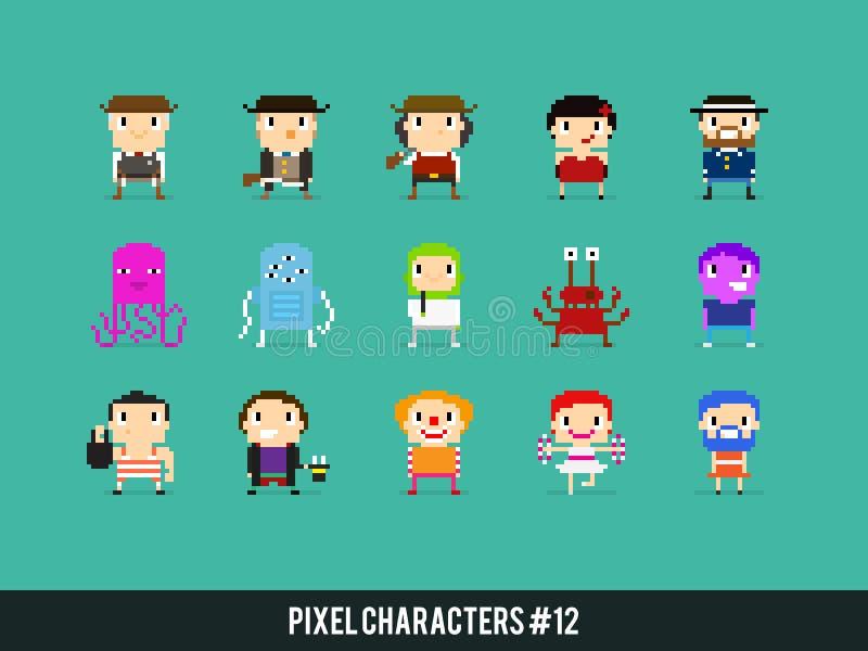 Caractères de pixel illustration de vecteur