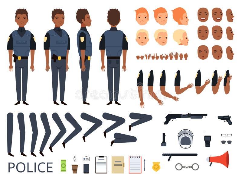 Caractères de police Poses de cannette de fil d'homme de garde du corps de constructeur de kit de création de détail et vêtements illustration libre de droits
