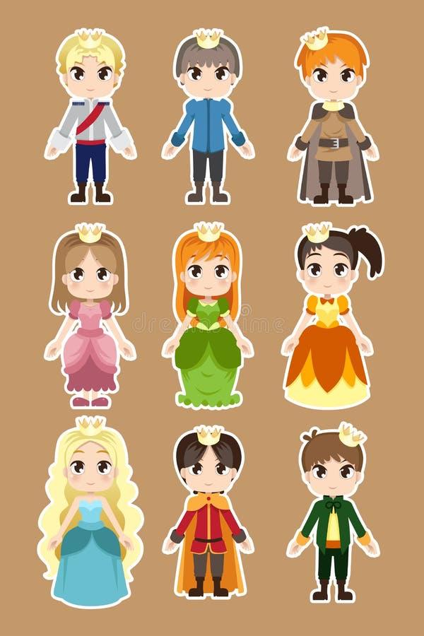 Caractères de prince et de princesse illustration de vecteur