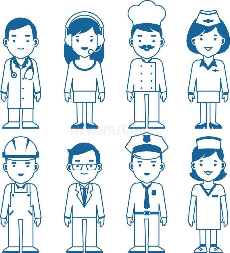 Caractères de profession de personnes réglés dans la ligne mince illustration stock