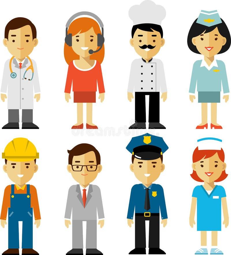 Caractères de profession de personnes réglés dans le style plat illustration libre de droits
