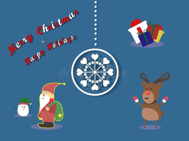 Caractères de renne et de Santa Christmas de Joyeux Noël photographie stock libre de droits
