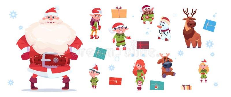 Caractères de Santa Claus With Elfs Set Isolated sur la bonne année de fond et le concept blancs de vacances de Joyeux Noël illustration libre de droits