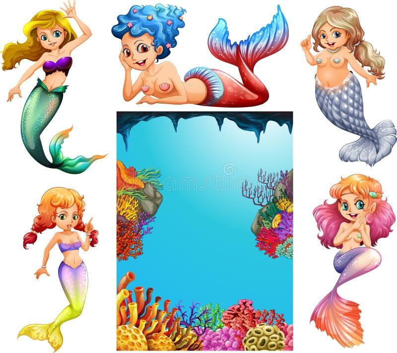 Caractères de sirène et fond sous-marin de scène illustration stock