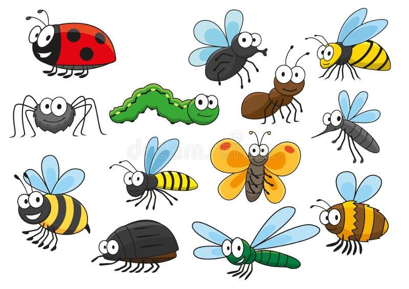 Caractères de sourire d'insectes de bande dessinée colorée illustration de vecteur