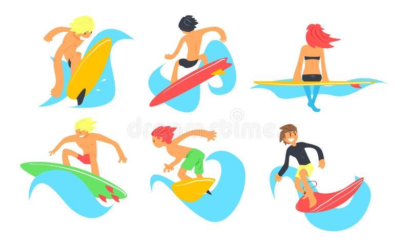 Caractères de surfers montant les vagues ensemble, le jeune homme et la femme avec des planches de surf, illustration extrême de  illustration libre de droits