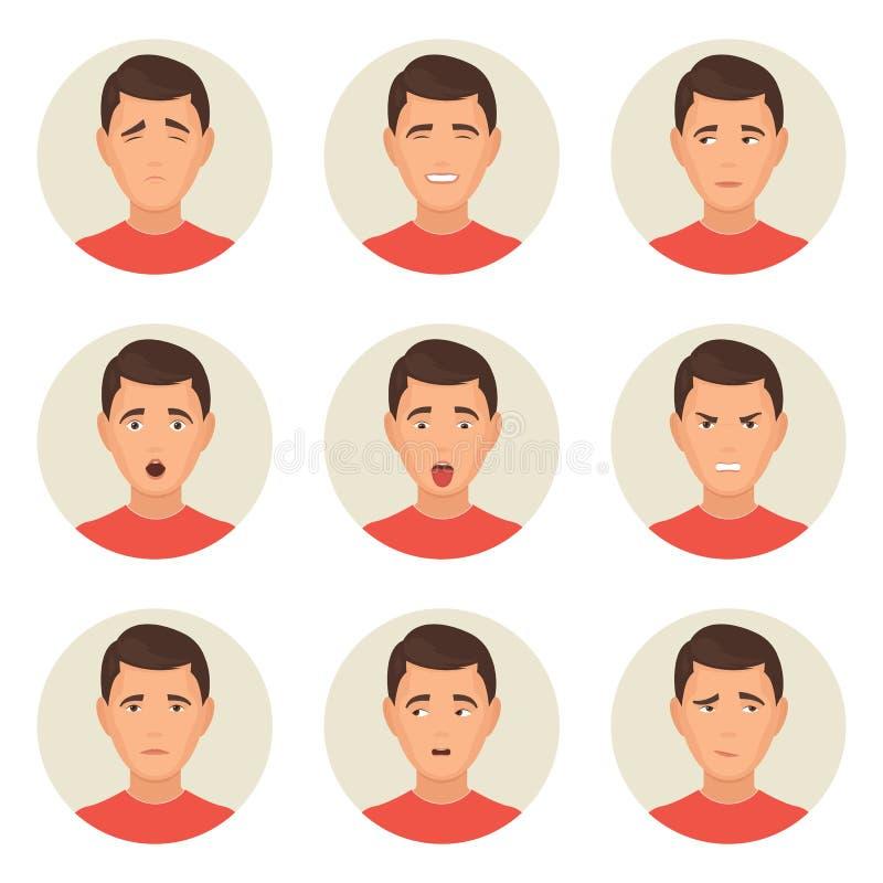 Caractères de visages d'émotions illustration libre de droits