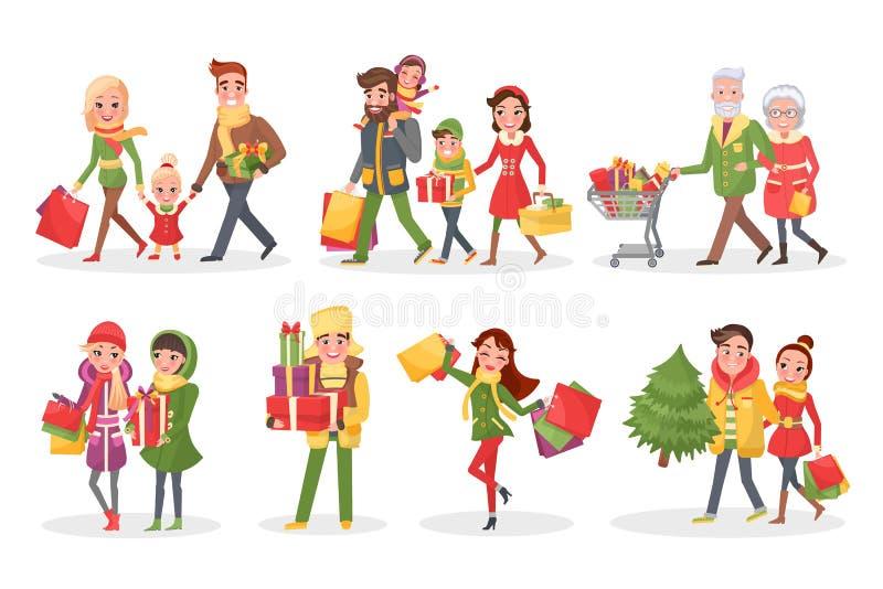 Caractères des familles à l'ensemble d'achats de Noël illustration de vecteur