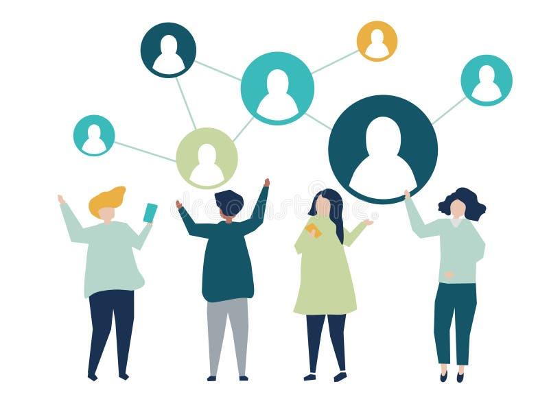 Caractères des personnes et de leur illustration sociale de réseau illustration de vecteur