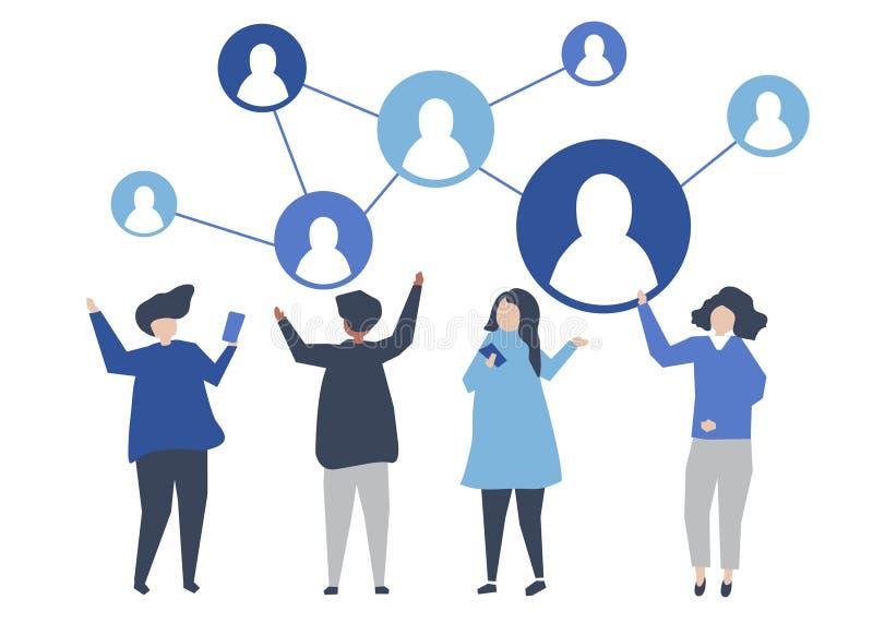 Caractères des personnes et de leur illustration sociale de réseau illustration libre de droits