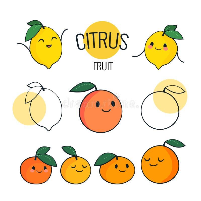 Caractères drôles d'agrumes de bande dessinée avec différentes émotions sur le visage Citron mignon, orange, mandarine, caractère illustration stock