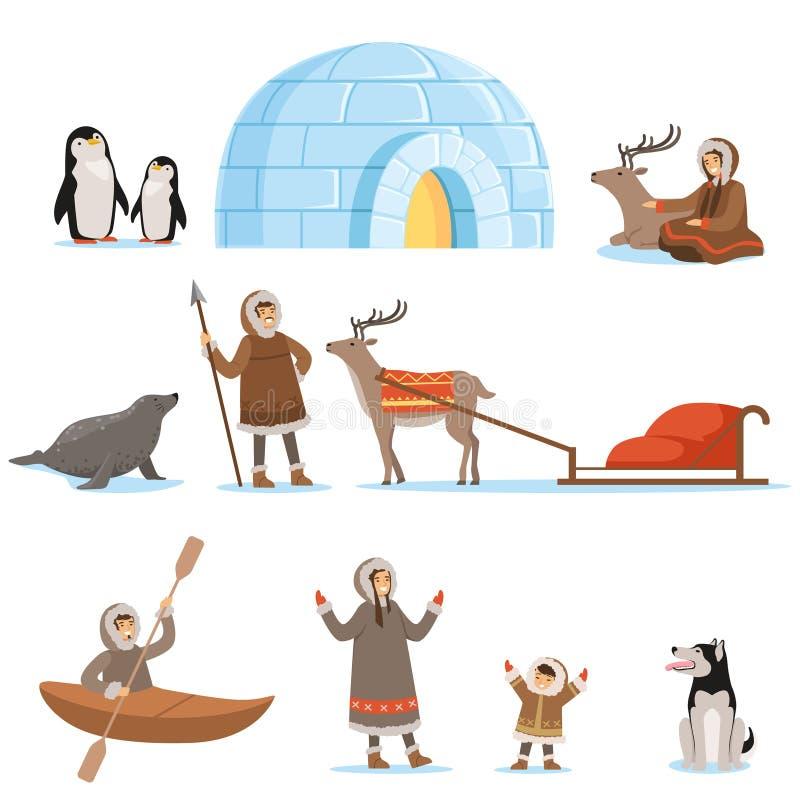 Caractères esquimaux chez l'habillement traditionnel et leurs animaux arctiques La vie dans le nord lointain Ensemble de bande de illustration de vecteur