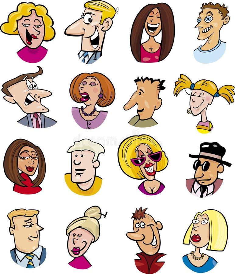Caractères et émotions de gens de dessin animé illustration de vecteur