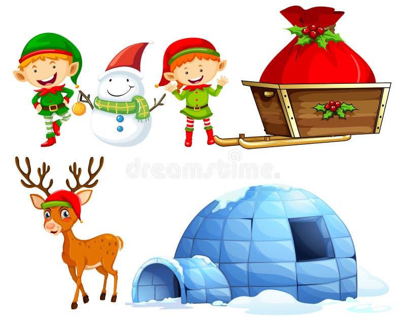 Caractères et igloo de Noël illustration de vecteur