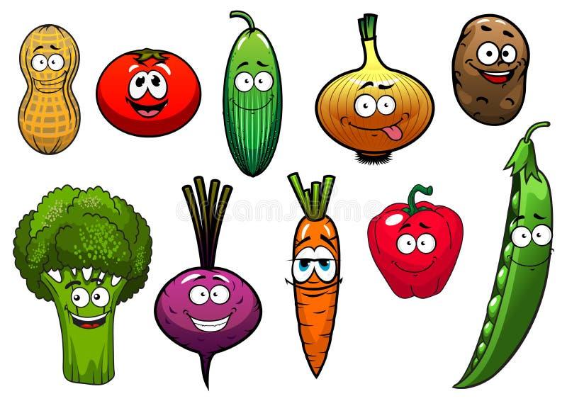 Caractères frais sains de légumes de bande dessinée illustration libre de droits