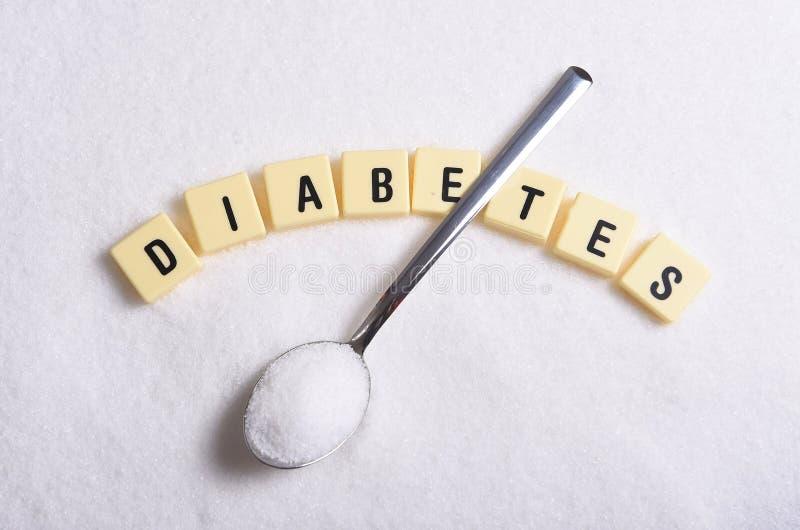 Caractères gras de diabète dans les mots croisé et la cuillère au-dessus de la pile de sucre d'isolement sur la texture grenue de image stock
