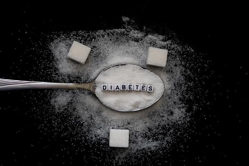 Caractères gras de diabète sur la cuillère avec la pile de sucre photo libre de droits