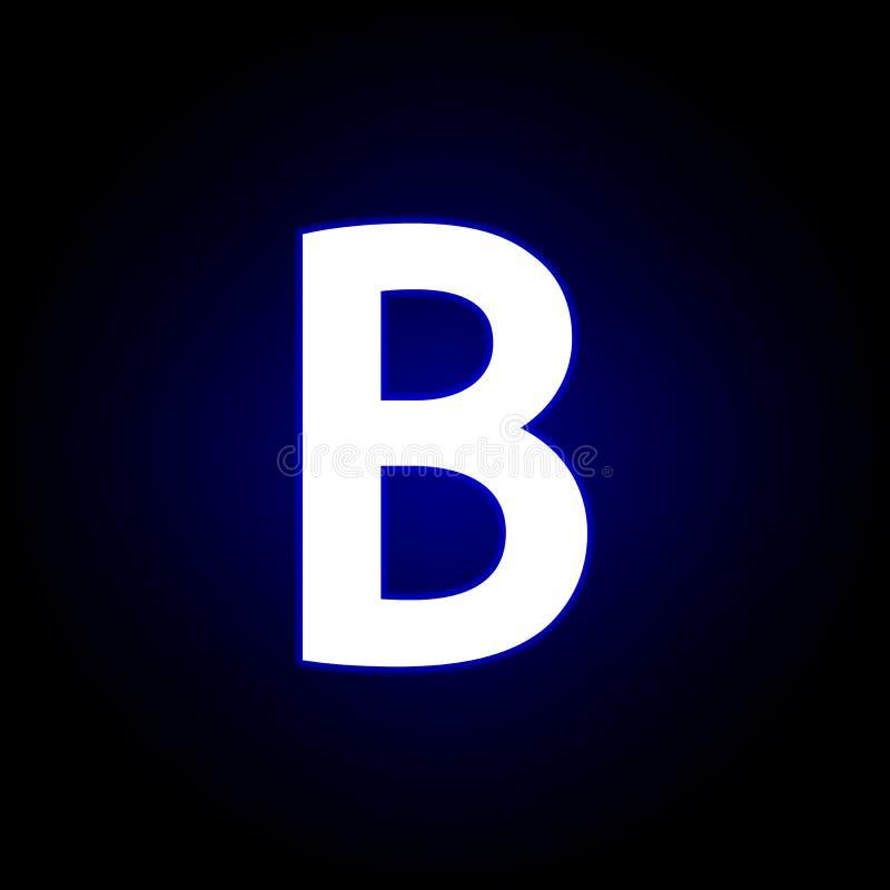 Caractères gras, icône de B dans le style au néon Peut ?tre employ? pour le Web, logo, l'appli mobile, UI, UX illustration libre de droits