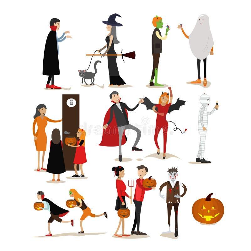 Caractères heureux de fête de vacances de Halloween d'isolement sur le fond blanc Illustration de vecteur dans le style plat Conc illustration libre de droits