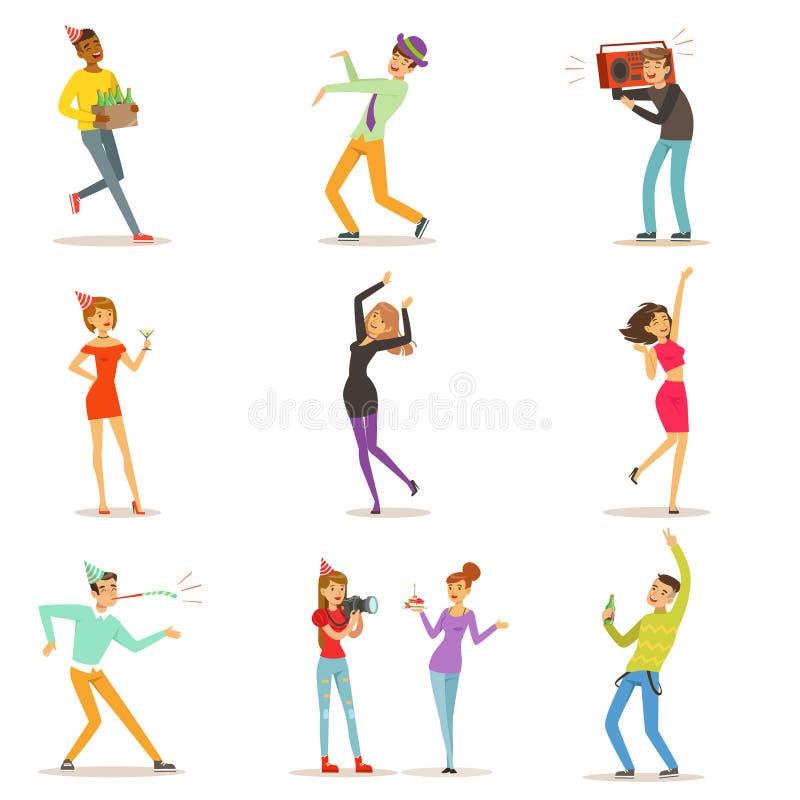 Caractères heureux de personnes célébrant, dansant et ayant l'amusement à une fête d'anniversaire réglée du vecteur coloré de car illustration libre de droits