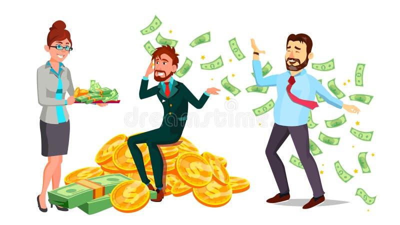 Caractères heureux homme et vecteur de femme millionnaire illustration de vecteur