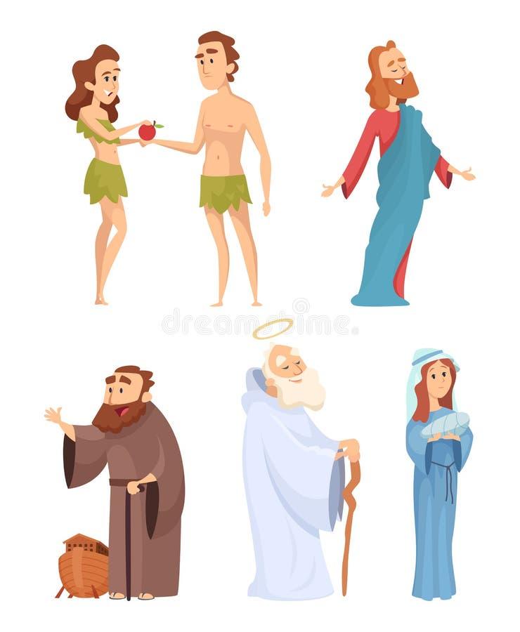 Caractères historiques de bible Mascottes de vecteur dans diverses poses illustration stock