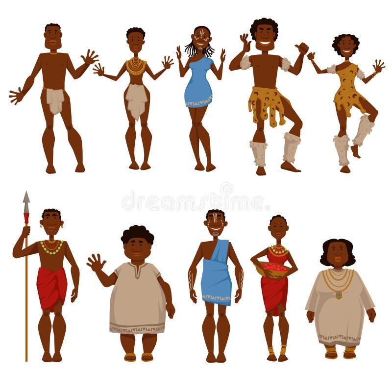 Caractères indigènes africains de vecteur de personnes de tribu illustration stock