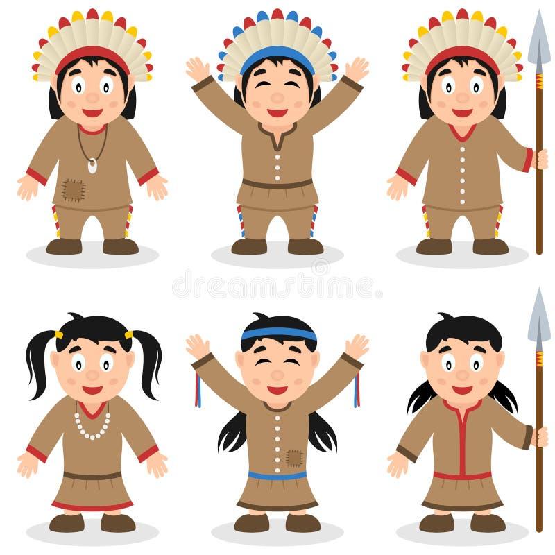 Caractères indigènes de jour de thanksgiving réglés illustration libre de droits