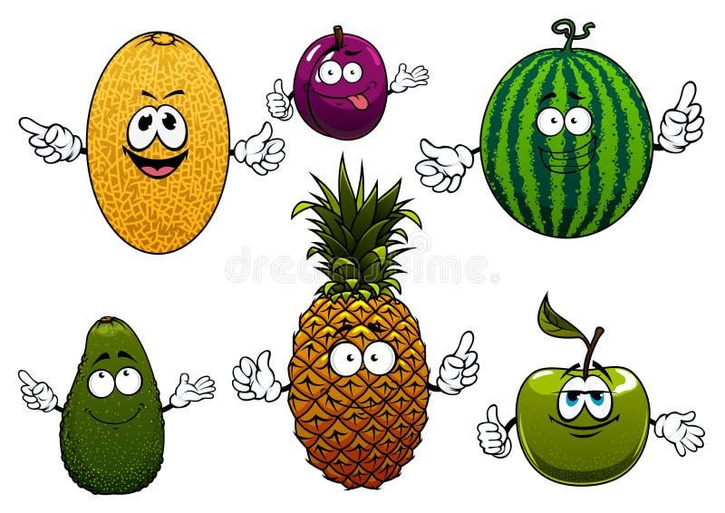 Caractères mûrs juteux de fruit de bande dessinée illustration de vecteur