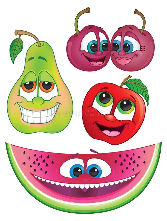 Caractères mignons de fruit de bande dessinée : Pastèque, poire, pomme et cerises illustration libre de droits