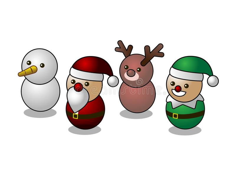 Caractères mignons de Noël isométrique, bonhomme de neige, Santa, renne, elfe, d'isolement sur le fond blanc illustration stock