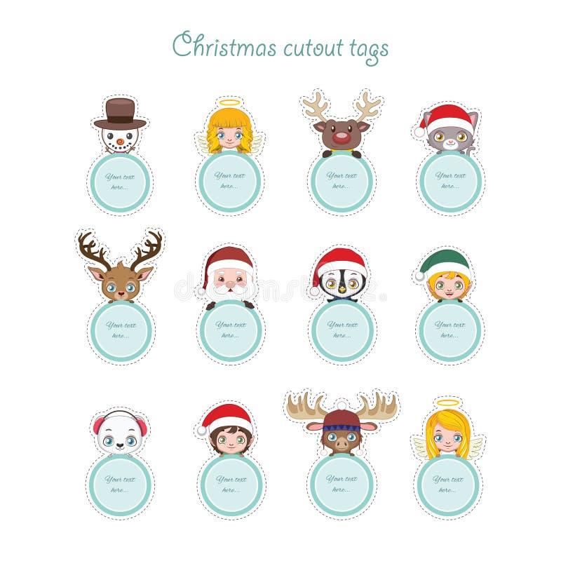 Caractères mignons de Noël tenant les étiquettes actuelles illustration de vecteur
