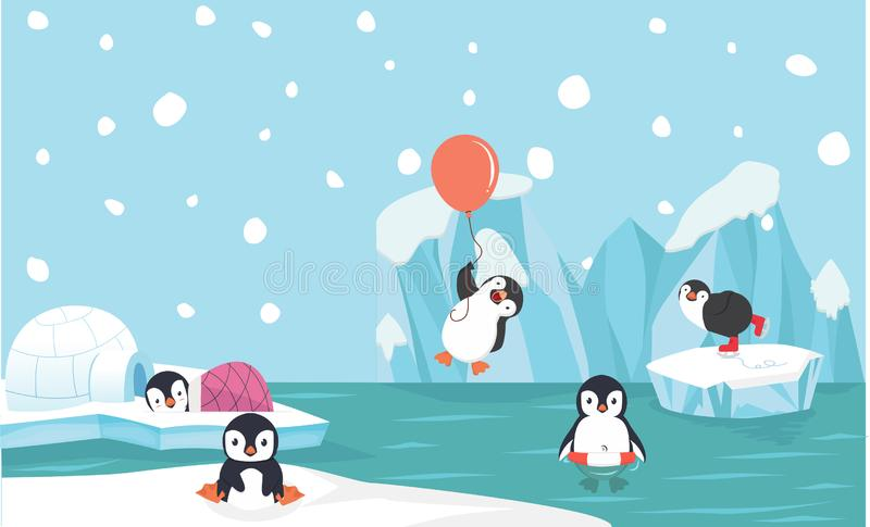 Caractères mignons de pingouin réglés avec le fond de Pôle Nord illustration stock