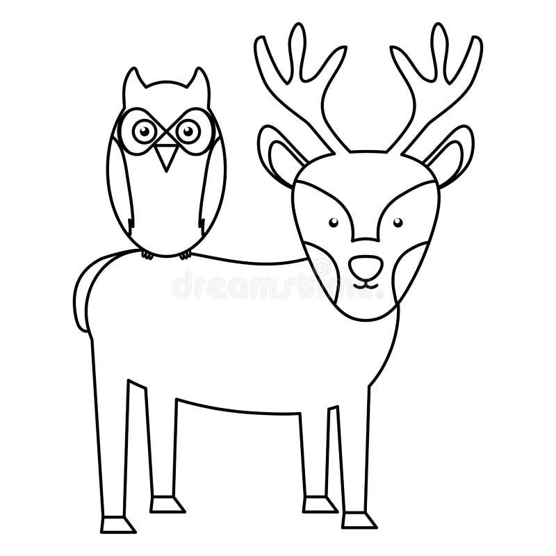 Caractères mignons de région boisée d'oiseau de renne et de hibou illustration de vecteur
